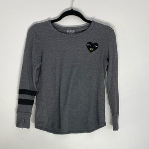 COMFY Gray sweatshirt with Heart and Stripes